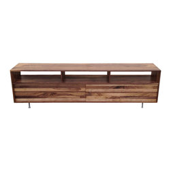 Jeremiah Collection - Long Low Mixed-Walnut Media Console, 48 W X 16 D X 24 H - This console is perfect for books, dvd's and any sort of entertainment systems. A sleek, subtle yet stylish look. Made with solid Walnut and a hand rubbed finish.
