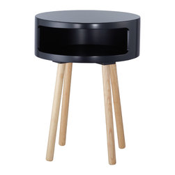 "Adesso Inc. - Collins Accent Table - Black round bent plywood table with four round natural wood legs. The table top's wide opening provides lots of room for storage, while serving as a great decorative accent or end table. 22"" Height, 16"" Diameter. Table top: 6"" Height (Front opening: 4"" Height, 13"" Width). Legs: 15.75"" Height, 1.25"" Diameter."