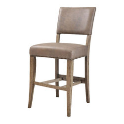 """Hillsdale Furniture - Hillsdale Charleston Parson Non-Swivel Stool (Set of 2) in Desert Tan - Hillsdale's Charleston collection beautifully combines a rustic desert tan wood finish with a dark grey metal and offers a multitude of choices to create the perfect dining group for your home. Starting with the chairs, you have the choice of three lovely designs: The X-Back chair combines a rustic desert tan top accent with a transitional metal X in the center of the back and a brown faux leather seat. The parson's chair is traditional in design and combines the rustic desert tan finish with the brown faux leather seat. The ladder back chair features 3 rungs in the desert tan finish, enhanced by the dark grey metal and brown faux leather seat. Now that you have decided on your chair, let's look at the table options: The stunning rectangle table features a wood top that is generously scaled to easily accommodate 6. The simple round table features a 48"""" diameter wood top with flared metal legs. The round wood table is 48"""" in diameter and features a wonderful metal accent on the base."""