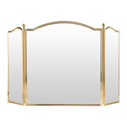 """Inviting Home - Traditional Fireplace Screen - lacquered cast brass fireplace screen with black mesh 57-3/4""""W x 34""""H hand-crafted in Italy Lacquered cast brass fireplace screen with black mesh. This fireplace screen is hand-cast in Italy."""