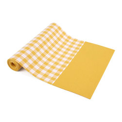 "Ladelle - Gingham Yellow Table Runner, 13"" x 71"" - We definitely have a thing for Gingham. This collection is made of 100% cotton, with matching tablecloths, placemats, table runners and napkins. Makes a stylish addition to any picnic, summer BBQ or family dinner at home."