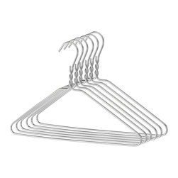Whitmor - Aluminum Clothes Hanger - Sleek modern and stylish these hangers will give serious oomph to your closet space.  If youre thinking of giving your closet a facelift imagine having long clean rows of beautiful silver twists holding all of your clothes at the same height. Thats right -- it will look incredible.  These hangers are not your ordinary thin bendable metal with epoxy coating; these are made-to-last rigid aluminum and they will look spectacular in your closet for years and years and years. (This is a set of 6 hangers)