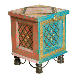 Everybody's Ayurveda - Medium Decorative Storage Trunk In Wood and Metal - Medium Decorative Storage Trunk. Wood and Metal. Hand crafted in India, this colorful piece can be used for an accent table or storage in your bedroom. The distressed finish and detail add personality! Rotate around to have multiple looks!Package Includes:Wooden Trunk OnlyDimensions:Width: 15 inch