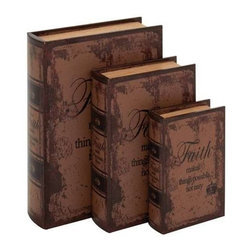 Benzara - Set of 3 Faded-Brown Leather Book Box - Set of 3 faded-brown leather book box. A quick glance at these exquisite books will lead you to believe that its just a Set of regular books. Some assembly may be required.