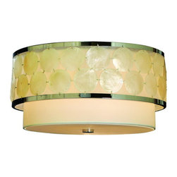 Trend Lighting - Mirabelle Flush Mount Light - Add a truly unique ceiling centerpiece to your decor. Shimmering discs of natural shell adorn the circular shade to illuminate your favorite setting with clarity and subtle sparkle.