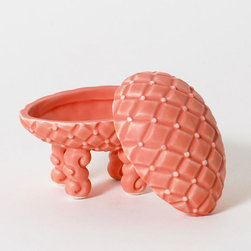 Decorative Fox Tail Container - Add a little whimsy to any tabletop with this salmon-hued porcelain container. Molded in the shape of a Faberge egg with a whimsical fox's tail, it's the perfect place to hide away all your favorite things.