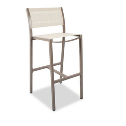 """Thos. Baker - cafe bar stool (taupe, creme check OTF) - A thos. baker exclusive in the US, our cafe collection seating features powder-coated aluminum frames with Batylene® mesh outdoor technical fabric (OTF). Arms, where applicable, are high-tech """"teak-look"""" recycled outdoor material (ROM)."""