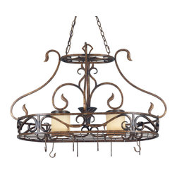 Kenroy - Kenroy 90505AGC Verona 2 Light Pot Rack - Copper is in, and nowhere is it applied more beautifully than in the Verona Collection.  It features an Aged Golden Coppper finish, with Cream fabric or Golden Vintage glass shades.