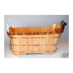 ALFI - ALFI 59 Inch Free Standing Oak Wood Bath Tub with Chrome Tub Filler Multicolor - - Shop for Bathroom from Hayneedle.com! Grab a book put on a little music maybe pour a glass of wine and pamper yourself in the luxury ALFI 59 Inch Free Standing Oak Wood Bath Tub with Chrome Tub Filler. Crafted with durable solid oak wood this stunning oval tub is reinforced with three electroplated iron wraps. The tub filler and hand-held shower head are gleaming chrome as are the accents supporting the padded headrest. A pop-up chrome drain and a hanging wooden basket for your shower necessities are included.About ALFIALFI is a unique family-owned business that's passionate about creating beautiful and functional bath products. Each of ALFI's fireclay sinks is constructed from 100% white clay and glazed with a thick coat to ensure durability and long-lasting design - two hallmarks of the ALFI work ethic. These famous sinks along with state-of-the-art stainless steel faucets LED rain shower heads protective sink grids and bathroom fixtures are surprisingly environmentally friendly. ALFI truly is a one-stop shop for all your water fixture needs.