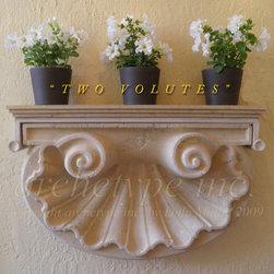 "08.01 "" T W O   V O L U T E S ""  Shell Motif/ French Limestone - "" T W O   V O L U T E S "" / French Limestone Plant Shelf/ Dale Mallie/ Archetype Inc/ 954 646 3931"