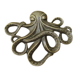 DaRosa Creations - Octopus Drawer / Cabinet Knob, Brass - The Octopus is all the rage for craft enthusiasts! While he may not have traversed the globe with Jules Verne, he will look ship-shape on your dresser or cabinet as a drawer pull! These fun knobs highlight one of the world′s most brilliant creatures; in fact, if octopuses could teach their young, they would rule the world.