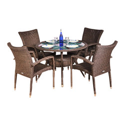 Amazonia - Bari 5 Pc Dining Table Set - Set includes Dining Table and 4 Arm Chairs. Aluminum and Synthetic Wicker frame. Free feron gard vinyl preservative for longest strap durability. It works great against the effects of air pollution salt air, and mildew growth. For best protection, perform this maintenance every season or as often as desired. Grey/Beige Wicker. Great functionality. Water Repellent Polyester Cushions. Some assembly required. Warranty: 1 year. Table: 40.5 in W x 29 in. H. Arm Chair: 29 in. W x 23.5 in. D x 35.5 in. HGreat quality, stylish design patio sets, made of aluminum and synthetic wicker. Enjoy your patio with elegance all year round with the wonderful Atlantic outdoor collection.