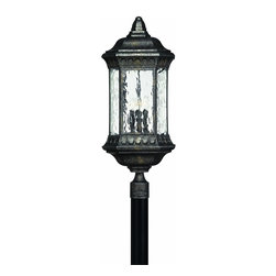 Hinkley Lighting - 1727BG Regal Outdoor Post Lamp, Black Granite, Water Seedy Glass - Traditional Outdoor Post Lamp in Black Granite with Water Seedy glass from the Regal Collection by Hinkley Lighting.