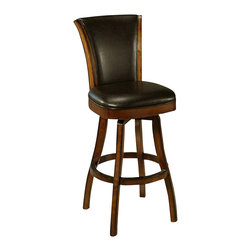 "Pastel Furniture - Pastel Glenwood Feher Black Barstool - Black Leather - 30 Inch - This swivel barstool features a quality wood frame with sturdy legs and foot rest finished in Feher black. The padded seat is upholstered in cream leather offering comfort and style. Available in 26"" counter or 30"" bar height."