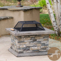 Christopher Knight Home - Christopher Knight Home Crestline Outdoor Natural Stone Fire Pit - Enjoy the outdoors with the Crestline fire pit. Constructed with fiber glass reinforced cement, this fire pit is elegantly designed with natural stone and a decorative frame finish.