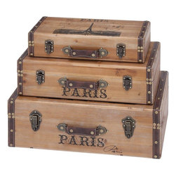Benzara - Trunk with Light Gray Background and Authenticity - Set of 3 - Enhance the appearance of your room with this beautifully crafted Wood Trunk with Light Gray Background and Authenticity (Set of 3). This set of wooden trunks creates an appealing aura around itself. This beautiful wood trunk can accent your home decor with its majestic looks. Once introduced in the room, you can experience a change in ambience that makes it more appealing. It looks stunning with its light gray background that gives the room a peculiar appeal. To add to the looks, it features intricate details that blend well with the material to enhance the appearance. To add a hint of authenticity, it showcases rust accents that take it to the next level of appeal. This elegant decor displays a superior performance due to its high quality material that ensures better grip on the floor and prevents slipping.