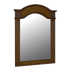 World Imports - Belle Foret 40in. x 30in. Framed Carved Portrait Mirror, Vintage Oak - Single, vanity mirror