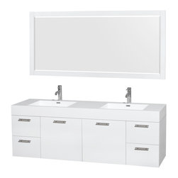 """Wyndham Collection - Amare 72"""" Vanity in Acrylic Resin Top, Integrated Sink, 70"""" - Modern clean lines and a truly elegant design aesthetic meet affordability in the Wyndham Collection Amare Vanity. Available with green glass, acrylic resin or pure white man-made stone counters, and featuring soft close door hinges and drawer glides, you'll never hear a noisy door again! Meticulously finished with brushed chrome hardware, the attention to detail on this elegant contemporary vanity is unrivalled."""