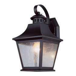 Trans Globe Lighting - Rubbed Oil Bronze Manchester 11-Inch Outdoor Wall Mount with Clear Seeded Glass - - Traditional Colonial d�cor in a Chesapeake carriage lantern with vented chimney top cap. Frosted glass and downward bulbs. Uses energy saving bulbs.  - 1 Light Coach Lantern  - UL Listed for Wet locations  - Uses GU-24 energy efficient bulbs  - Seeded clear glass sides and open at bottom for easy access to bulbs  - Classic American outdoor lantern with vented chiminey roof  - Contemporary outdoor lighting  - Material; Zinc Plated Steel, Glass  - Energy Saving  - Bulbs not included Trans Globe Lighting - PL-4871 ROB