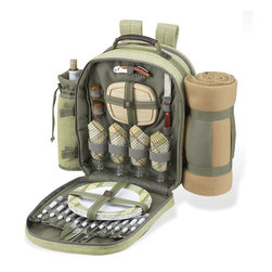 Picnic at Ascot - Hamptons Picnic Backpack with Blanket for Four - Features: