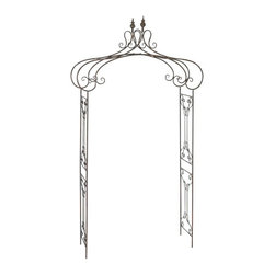 Aspire - Decorative Metal Garden Arch - This metal garden arch will add a quaint and romantic touch to your outdoors. The accent features a scrolled metal design that is elegant. The rustic charm is further enhanced by the antique brown finish. Metal. Color/Finish: Antique Brown. Assembly Required. 95 in. H x 44 in. W x 15 in. D. Weight: 15 lbs.