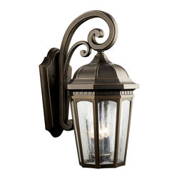 KICHLER - KICHLER Courtyard Traditional Outdoor Wall Sconce X-ZR4309 - From the Courtyard Collection, this Kichler Lighting outdoor wall sconce features ornate scrollwork paired with a tapered traditional lantern shape. Finished in a Rubbed Bronze hue and paired with clear seedy glass panels, this sconce will blend into a number of home styles. U.L. listed for wet locations.