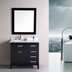 """Design Element - Design Element DEC076D-R London 36"""" Single Sink Vanity Set with Drawers on Right - Design Element DEC076D-R London 36"""" Single Sink Vanity Set in Espresso with Drawers on the Right"""
