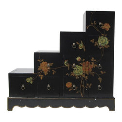 Golden Lotus - Black Color Peony Flower Graphic Leather Surface Tansu Cabinet - You are looking at a unique black color stairs shape 10 drawers Tansu. There is a thin layer of artificial leather over wood and it has peony flowers graphic on the front and sides .