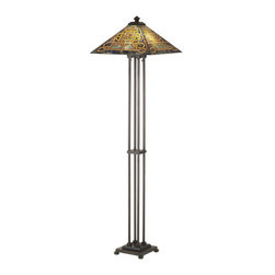 Meyda Tiffany - Meyda Tiffany 48023 Stained Glass / Tiffany Floor Lamp Knotwork Mission - Arts & Crafts MissionFloor Lamp2 Medium base bulbs, 60w (max)