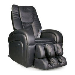 Osaki OS-5000 Reclining Comfort Full Body Massage Chair /w Remote & Warranty - Unwind after a stressful day in the all OS-5000 Comfort Series massage chair. It's designed to lend itself to the fashions of today's furniture. It's simple and timeless design is easy to incorporate with the surroundings of most homes. Simple in Design but considered one of the most advanced massage chairs in the market. Along with its clean lines, the chair is lush and well padded to provide extra comfort and support, unlike other massage chairs that tend to be very firm and rigid. Massage actions include Shiatsu massage, kneading, clapping, tapping, rolling, dual-action, tri-action and vibration, while the innovative Auto-Scan feature automatically adjusts each massage to your body. For the safety of the user, the chair has a built-in 15 minute timer which will turn off the chair to avoid muscle bruising, in the case the user falls a sleep. To improve the depth of the massage it provides a heat massage in the lower lumbar area to relieve muscle tension and pain. This chair has a suggested weight limit of 265 lbs to prevent from motors and circuits from breaking down prematurely.Features:- The OS-5000 provides one of the largest varieties of massage types - Shiatsu massage, kneading, clapping, tapping, rolling, dual-action, tri-action, and vibration.- Advanced Computer Body Scan - For the fist few seconds of the massage the chair will map your body to provide a custom massage specific to its user's body type and size.- Air Pressure Massage System - Invigorating air pressure massage is applied to the calves and feet area. Air bag are inflated and released to create a squeezing style of massage.- Pre-Programmed Massage - 7 pre-programmed massages are available with customizable strength, speed and intensity.- Adjustable Massage - The easy to use LED remote allows you to adjust speed, roller and massage areas at the touch of a figure. The hand held remote is light and brightly lit for easy