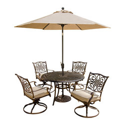 """Hanover - 5 Piece Dining Set, With Umbrella and Stand - The traditionally designed Hanover Traditions 5PCSW-SU 5-piece patio set beautifully transforms any backyard into an elegant outdoor dining area with its superior quality and deep comfort feel. Included in this set are four deep cushioned swivel chairs and a 48"""" round dining table along with an umbrella and base. All items have alumnicast frames featuring heavy gauge aluminum-alloy extrusions with uniquely supported inner walls. These frames will remain rust free for life. Even the cushions are built to last with a high grade of 100% polyester wrapped around polyurethane foam, ensuring deep comfort while maintaining its original full shape. The fabric of these pillows and cushions are also specifically designed, woven, and treated for quick drying while resisting stains and UV harm. Designed to last, this 5-piece outdoor dining set will surely provide you with a natural alternative to entertaining indoors. Some assembly is required."""