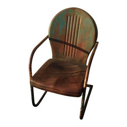 Used Metal Patio Chair - Vintage green patio chair.  Just grab some lemonade and meet us on the porch.