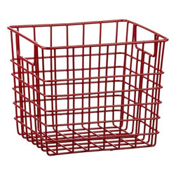 "Small Red Metal Bin With Handles - I need to reorganize my kitchen. A set of these metal baskets will not just ""do"" — they're good looking enough for all to see."