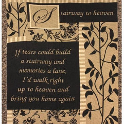 Manual - Stairway to Heaven Tapestry Bereavement Throw Blanket 50 Inch x 60 Inch - This multicolored woven tapestry throw blanket is a  great way to memorialize a lost loved one. Made of cotton, the blanket measures 50 inches wide, 60 inches long, and has approximately 1 1/2 inches of fringe around the border. The blanket features a black, brown and tan leafy patchwork print, with 'Stairway To Heaven: If tears could build a stairway and memories a lane, I'd walk right up to heaven and bring you home again' printed toward the bottom. Care instructions are to machine wash in cold water on a delicate cycle, tumble dry on low heat, wash with dark colors separately, and do not bleach. This comfy blanket makes a great gift for grieving friends and family.