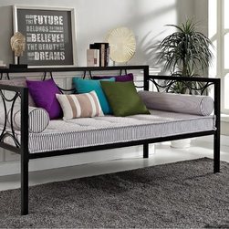 DHP - DHP Rebecca Black Circular Metal DayBed - Create a comfortable and welcoming haven for your family and guests with the DHP Rebecca Metal Daybed. The circular motifs and square tubes lend a contemporary look to any modern home.