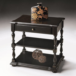 Butler - Butler Masterpiece Accent Table In Brushed Sable 5018005 - Selected solid woods and choice cherry veneers. Drawer with antique brass finished hardware. Middle and lower shelves for display of objects d'art.