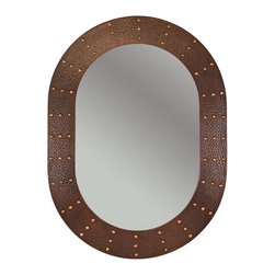 Premier Copper Products - 35 in. Hand Hammered Oval Copper Mirror with - Configuration: Oval. Design: Hammered Copper Surface with Hand Forged Rivets. Color: Oil Rubbed Bronze. Inner Dimension 27 in. x 18 in. x 1 in.. Outer Dimension: 35 in. x 26 in. x 1 in.. Installation Type: Wall Mount / Horizontal or Vertical. Material Gauge: Industry Best (18 Gauge Wrapped Around MDF Plywood). Hand Made. Mirror: Included. 100% Recyclable. Composition: 99.7% Pure Recycled Copper. Lead Free (