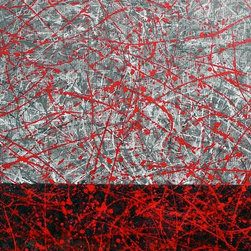"""""""Filtered Red, Original, Painting"""" - """"A large abstract painting in splash art style made famous by Jackson Pollock. The technique looks random and and easy to achieve, however these take quite a bit of planning to create a balance across the whole piece built up over several layers and here with a little more control applied in the form of a seperation between the darker tones on le bottom and the lighter ones on top, joined together by red.  Quite often I'll use a smaller work as a study to a larger canvas to ensure the technique or colours will work. Here I used a stenciled technique to create the impression of a grid behind the splash art style, whilst also introducing a colour to the tonal work. The effect is a lovely combination piece and quite striking, perfect for a modern interior design. """""""