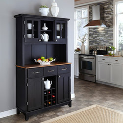 Black Hutch Buffet with Wood Top -