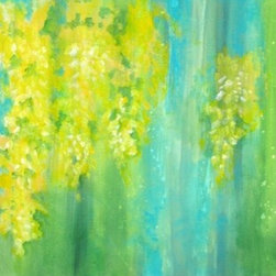 Where Laburnum Blooms (Original) by Devika Keskar - This painting was inspired by my memories of the glorious blooms of the Laburnum tree against the cool blue skies and lush green vegetation. My neighborhood had streets lined with these trees and there would be a yellow canopy overhead when the trees bloomed..so gorgeous!