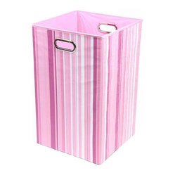 Rose Stripes Folding Laundry Basket