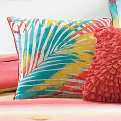 Teen Vogue - Teen Vogue Electric Beach Ombre Decorative Pillow Multicolor - 200905 - Shop for Home Furnishings and Accents from Hayneedle.com! Leaf it to the cheerful Teen Vogue Electric Beach Ombre Decorative Pillow to complete your beachy bedroom look. With all the quintessential colors of summer in a graphic palm leaf pattern it makes a glowing addition to your bedding ensemble. Or add it to the coordinating Teen Vogue Electric Beach Comforter Set for a seriously sunny sleeping space.Full/Queen DimensionsFitted sheet: 75L x 54W in.Flat sheet: 96L x 81W in.Pillowcase: 30L x 20W in.Twin DimensionsFitted sheet: 80L x 60W in.Flat sheet: 102L x 94W in.Pillowcase: 30L x 20W in.About Teen VogueFrom the name that brings you the latest and greatest fashion trends for teens Teen Vogue now brings you a line of bedding to make your room or dorm as stylish as you. The fashion-forward Teen Vogue designers take the most current trends and translate them into inspired bedding sets and accessories in enough styles and colors to fit any taste all at an affordable price. Now that's always en vogue.