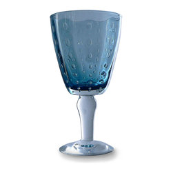 Sea Drops Wine Glass - Deep Blue - Glimmering with wide bubbles incorporated into a beautiful, mouth-blown combination of colorless and transparent cobalt glasses, the handsome Sea Drops Wine Glass in Deep Blue adds the depth of a classic color to your table.  When it's used as a water goblet or for a chilled white wine, the condensation enhances the sapphire tones' marine connotations.