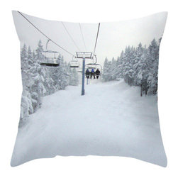 BACK to BASICS - Chair Lift Pillow Cover, 16x16 - Chair Lift, Throw Pillow Cover. Photo was taken while skiing in Vermont.