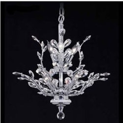 "James R. Moder - Florale No. 94456 Chandelier by James R. Moder - The Florale No. 94456 Chandelier, by James R. Moder, is old-world, crystal magnificence in a contemporary setting. The Florale No. 94456 Chandelier features crystal ""pedals"" set into silver-finished ""branches."" This chandelier comes with a brilliant silver finish, has crystal-grade options and utilizes eight lamps.James R. Moder's heritage goes back to Austria, where the finest crystal components are manufactured. For 40 years, Moder's crystal chandeliers have been designed and manufactured to the highest quality standards.The highest quality crystal is ELEMENTS, manufactured by Swarovski in Austria. The company also manufactures SPECTRA, a mid-range quality at a lower cost. IMPERIAL Crystal is acquired from other sources and sells at a more modest price.The Florale No. 94456 Chandelier, by James Moder, is available with the following options.Crystal: IMPERIAL (shown), ELEMENTS, or SPECTRA. Lamping: Eight, 60 watt, 120 Volt,  B10 candelabra lamps (not included).Shipping:This item usually ships within 2 to 3 weeks. We will provide an estimated shipping date within two business days.Dimensions:Fixture: Width 21 in., Height 22 in.Suspension: Overall Length  adjustable to 3 ft."