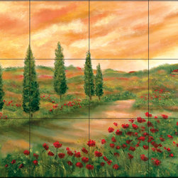 The Tile Mural Store (USA) - Tile Mural - Sunset In Tuscany - Kitchen Backsplash Ideas - This beautiful artwork by Francesca Martinelli has been digitally reproduced for tiles and depicts a field of poppies in this tuscan scene.  This garden tile mural would be perfect as part of your kitchen backsplash tile project or your tub and shower surround bathroom tile project. Garden images on tiles add a unique element to your tiling project and are a great kitchen backsplash idea. Use a garden scene tile mural for a wall tile project in any room in your home where you want to add interesting wall tile.