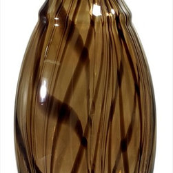 "Imax Worldwide Home - Medium Brown Swirl Vase - This beautiful glass vase features warm neutral colors which swirl over the length of the body. For any decor, modern to traditional, it's the perfect accent piece. For a coordinated look purchase all three sizes.; Country of Origin: China; Weight: 6.5 lbs; Dimensions: 17""h x 6.75""d"
