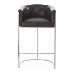 """Arteriors - Arteriors Home - Calvin Top Grain with Hide Polished Nickel - Arteriors Home - Calvin Top Grain with Hide Polished Nickel Barstool - 2670 Features: Calvin Collection Barstool Leather FinishPolished Nickel Material Some Assembly Required. Dimensions: 23.5"""" W X 24"""" D X 37.5"""" H"""