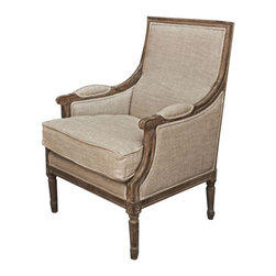 Light Burnt Oak Vintage French Arm Chair - This weathered French armchair is sure to make a cozy statement in your space.