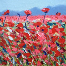 Poppies by The Mountain (Original) by Emma Bell - Poppies dance in the breeze beneath the mountains